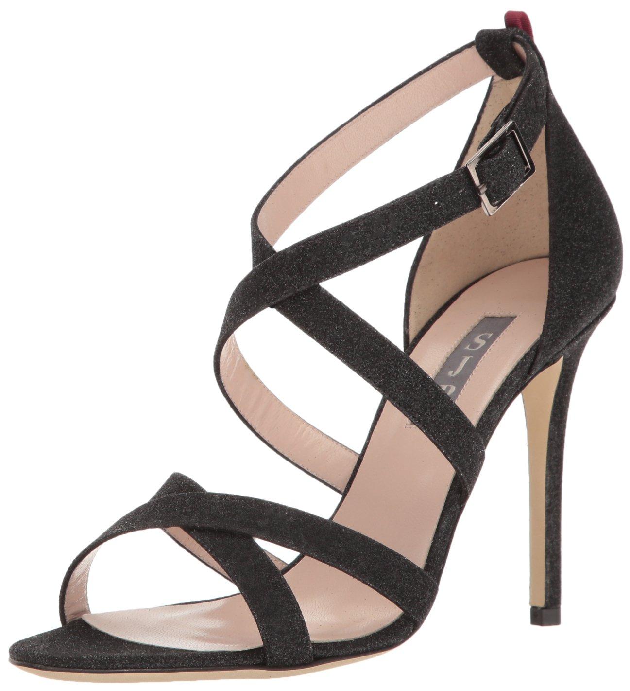 SJP by Sarah Jessica Parker Women's Strut Dress Sandal, Doozy Fine Glitter Black, 39 EU/8.5 B US