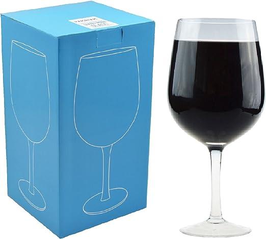 Copa de vino gigante - Caja regalo - Cristal - 750 ml (una botella ...