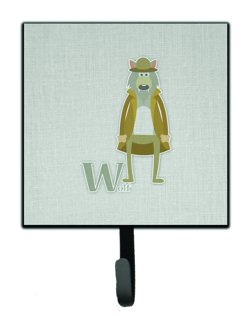 Carolines Treasures Alphabet W for Wolf Wall Hook Small Multicolor