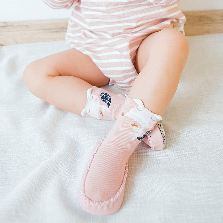 DORRISO 2 Paires Chaussette B/éb/é Fille Mignonne Chaussons Chaussettes Antid/érapantes Souple Baby Chaussette B/éb/é Naissance Chaussette