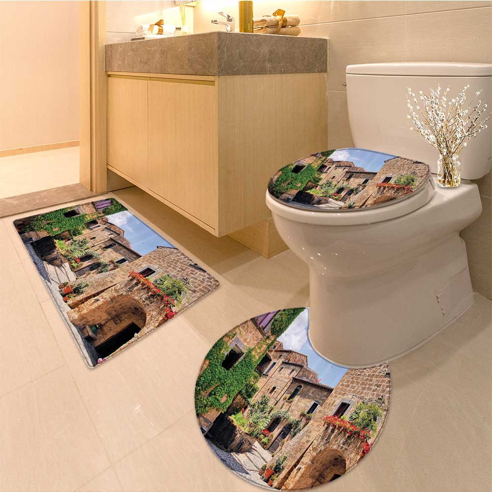 3 Piece large Contour Mat set Gardening Materia Tools on the Backyard with Shove and Bucket Print Fabric Set with Bathroom Rugs Contour Mat Lid Toilet Cover by NALAHOMEQQ (Image #1)