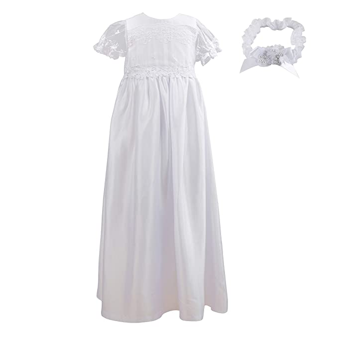 NIMBLE Baby Girls Baptism Christening Elegant Meshed Lace Gown for 0-12 Months