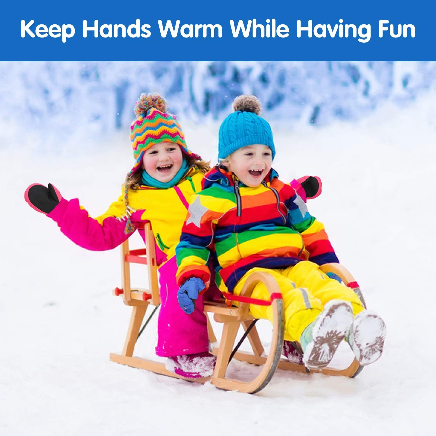 Outdoor Activities for Boys Girls Toddlers Cycling Winter Windproof Mittens Waterproof Cold Weather Warm Thermal Gloves for Skiing Snowboarding Aged 1-8 MoKo Kids Ski Gloves