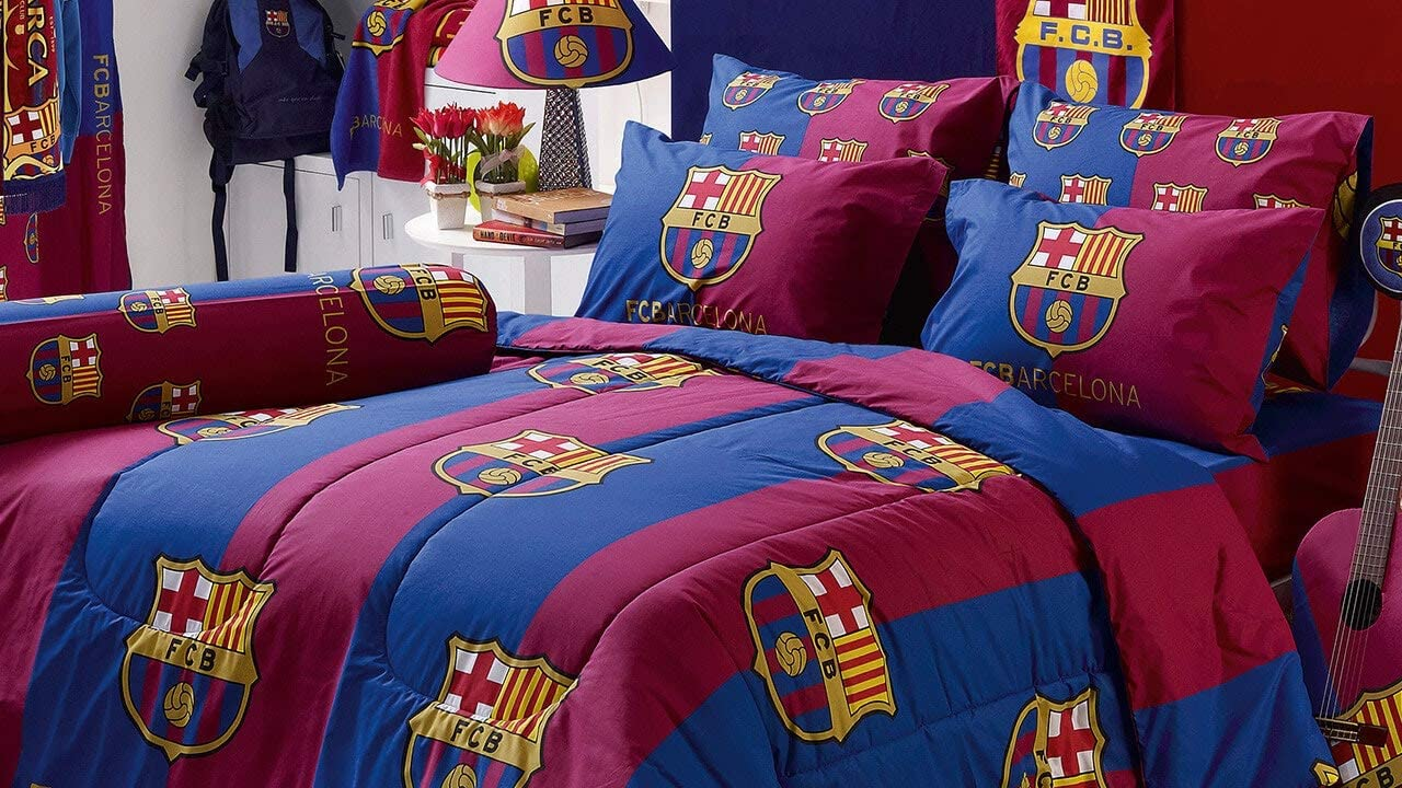 "Fcb Barcelona Fc Football Club Soccer Mannschaft Official Licensed Bett Sheet Set, 1 Fitted Bett Sheet, 1 Pillow Case, 1 Bolster fallen (Not Included Comforter) Bc002 Satz ein (Twin 42""X78\"") Teen Gifts"