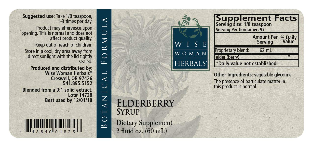Amazon.com: Wise Mujer Herbals – Elderberry Jarabe botella ...