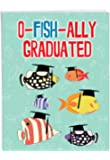 NobleWorks, No More School - Jumbo Graduation Greeting Card (8.5 x 11 Inch) - Fish Pun Joke, College or HS Graduate Card for Students J3132GDG-US
