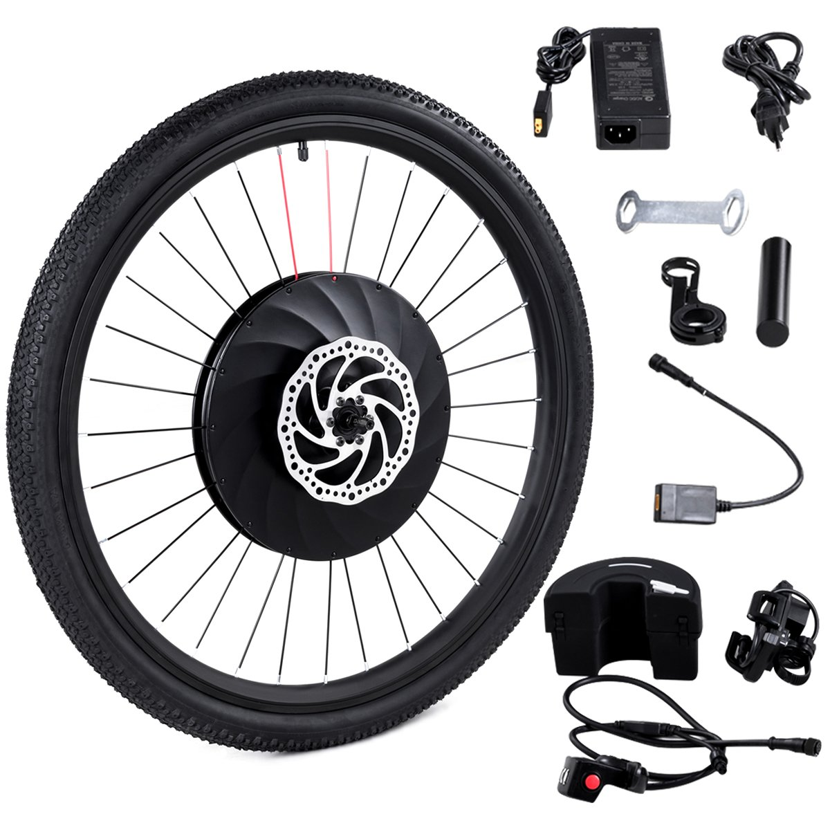 Goplus 26'' Front Wheel E-Bike Conversion Kit Electric Bicycle Motor Kit Bicycle Accessories Set with APP Interaction, Battery and USB Charger, 36V 240W