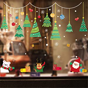 Kriccio Christmas Decorations Window Clings Large Stickers for Glass, Xmas Decor Decals Holiday Snowflake Reindeer Snowman Christmas Tree Stocking, Party Supplies Gift Idea HM92036ds