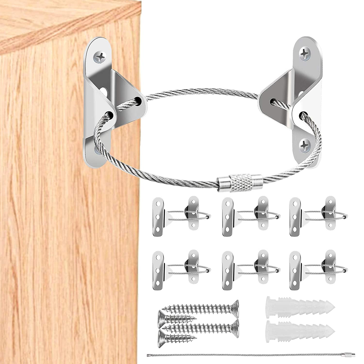 6 Pack Furniture Anchors, Premium Furniture Anchors for Baby Proofing, Secure 400 Pound Anti Tip Bracket for Furniture