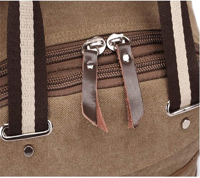 Color : Khaki LHQ-Camera Bag Mens Durable Vintage Canvas Backpack School Laptop Bag Hiking Travel Rucksack Brown Camera Bag
