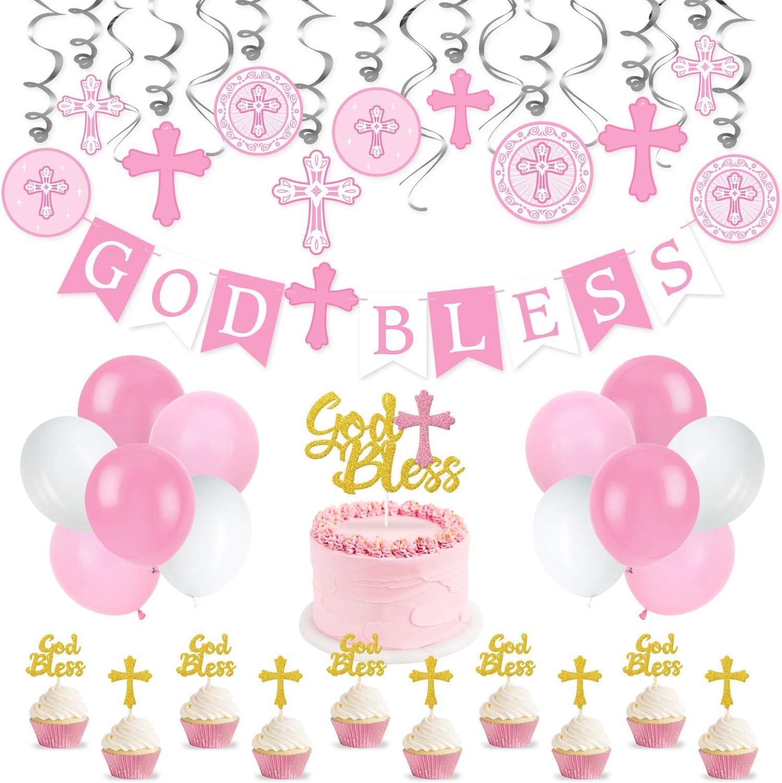 Pink Baptism Banner Swirl Cake Topper Kit God Bless Banner First Communion Party Decorations for Girl Christening Decoration Kit for Baby Shower First Birthday Decor Christening Wedding Party Favors