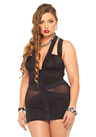 Leg Avenue Womens Plus Size Spandex Strappy Elastic Band Dress With
