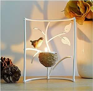 Robin Tea Light Holder With LED Light Decorative Dome White Christmas Gift