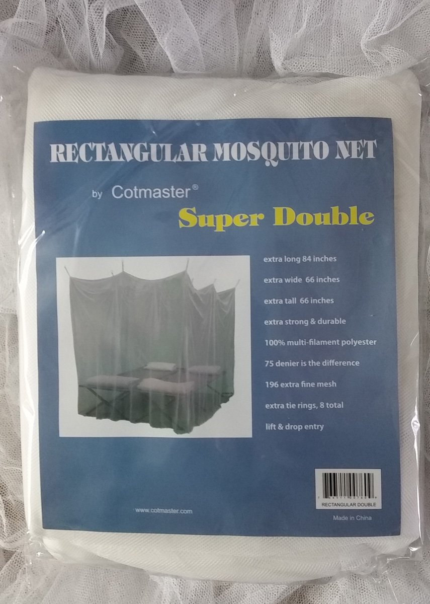 Cotmaster Double Size White Rectangular Mosquito Net 75 denier (66 x 66 x 84 inches)