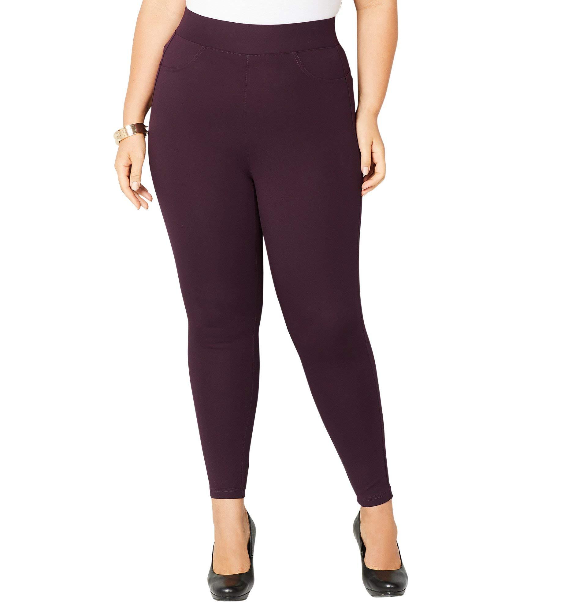 Avenue Women's Wide Waist Ponte Legging, 26/28 Purple