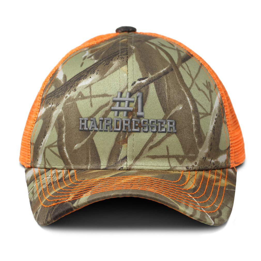 Custom Camo Mesh Trucker Hat Number #1 Hairdresser Embroidery Cotton One Size