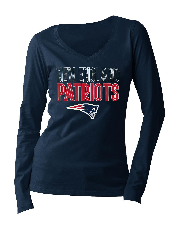 chic NFL New England Patriots Women s Long Sleeve V Neck Jersey 6dc5febaf