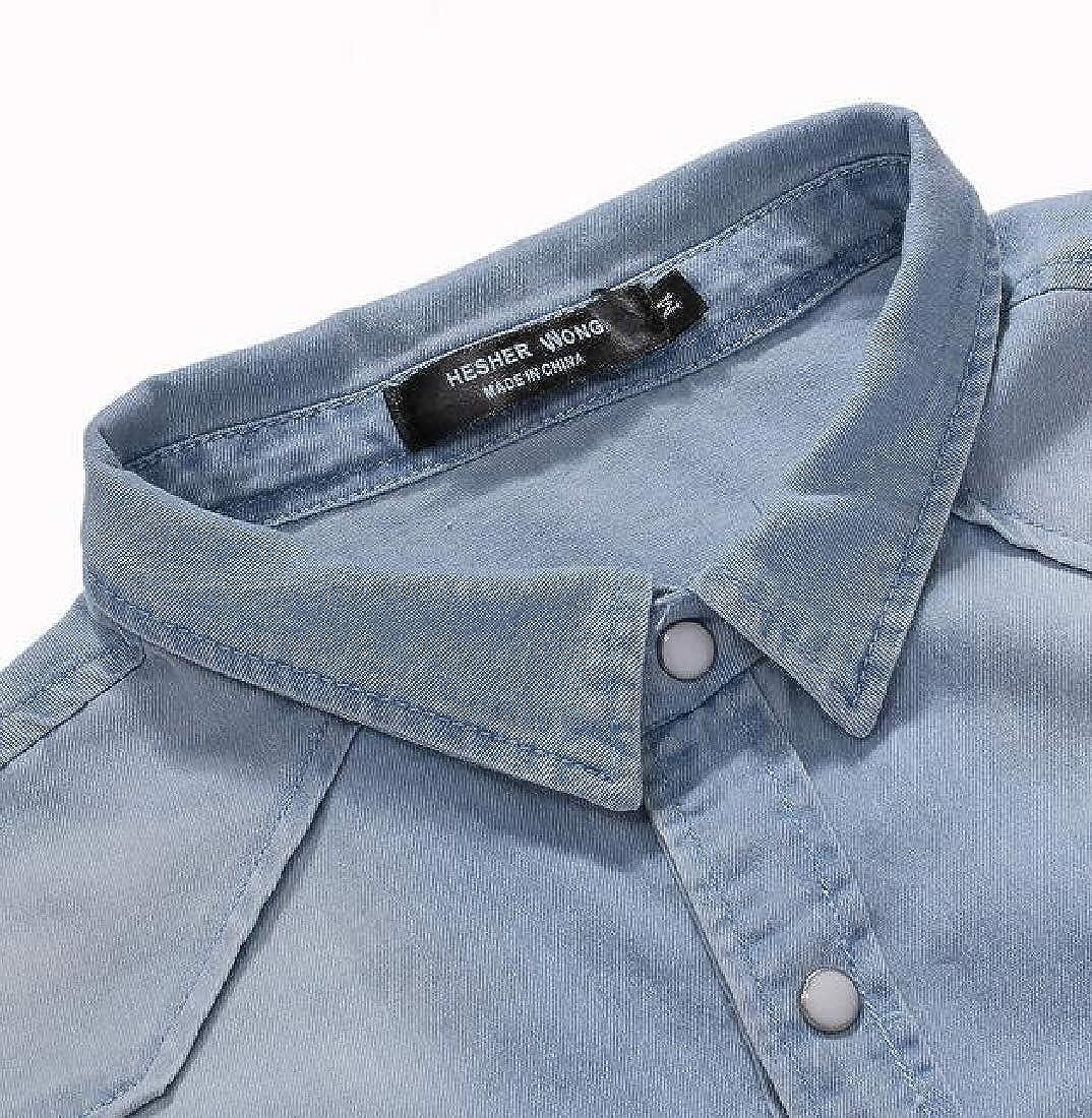 Spirio Men Short Sleeve Loose Fit Summer Denim Lapel Neck Button Up Dress Shirt