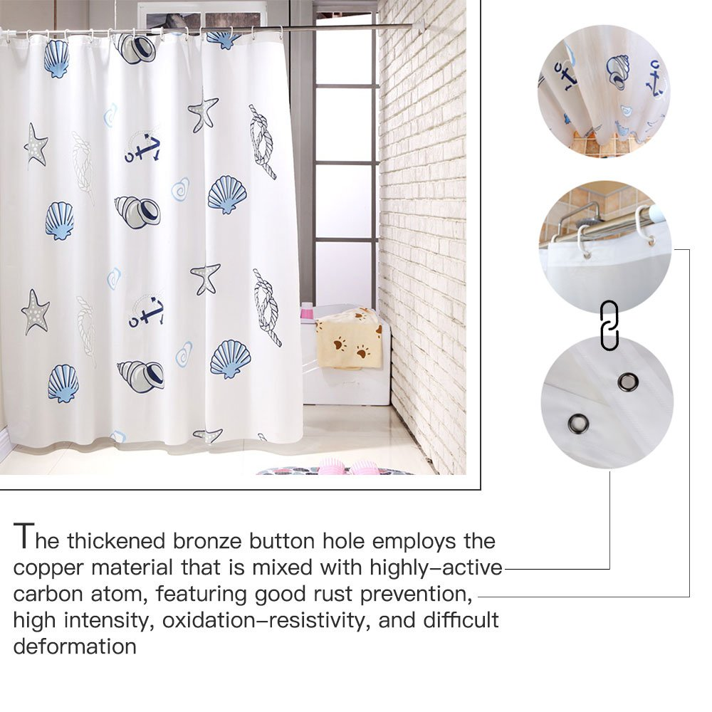 Amazon.com: Shower Curtain Liner with 12 Curtain Hooks Clear ...