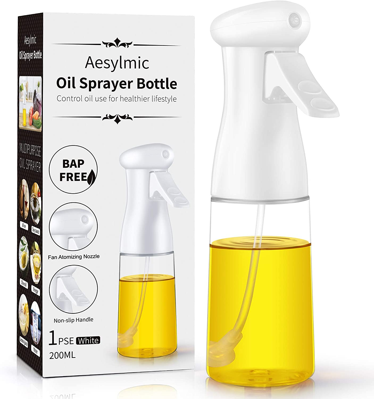 Olive Oil Sprayer For Cooking, Aesylmic, Olive Oil Spray Bottle,oil Sprayer For Air Fryer, Salad, Baking, BBQ, Food Grade BPA Free, Ergonomically Designed Trigger, 7oz/200ml, White