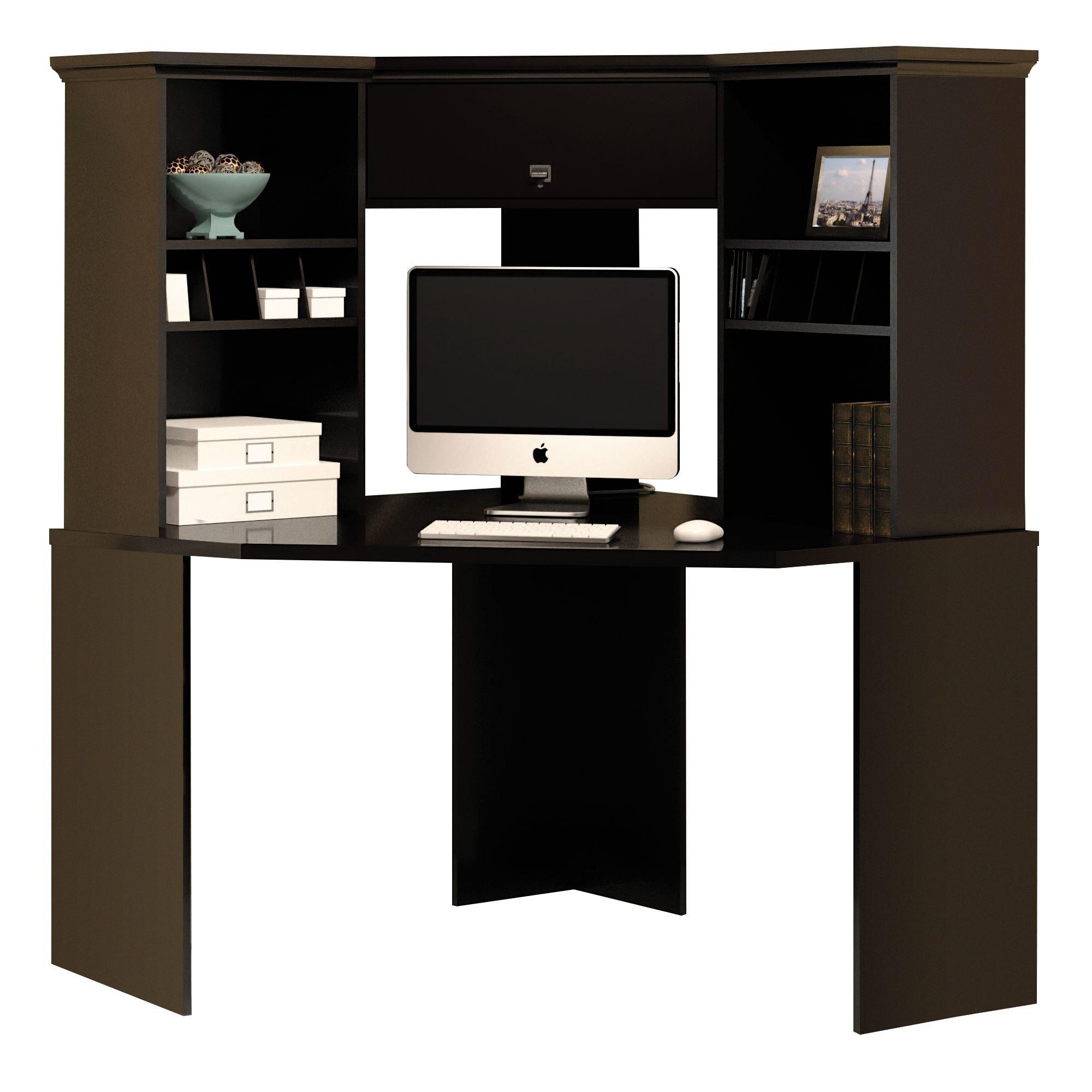 Bush Furniture Stockport Corner Desk with Hutch in Classic Black