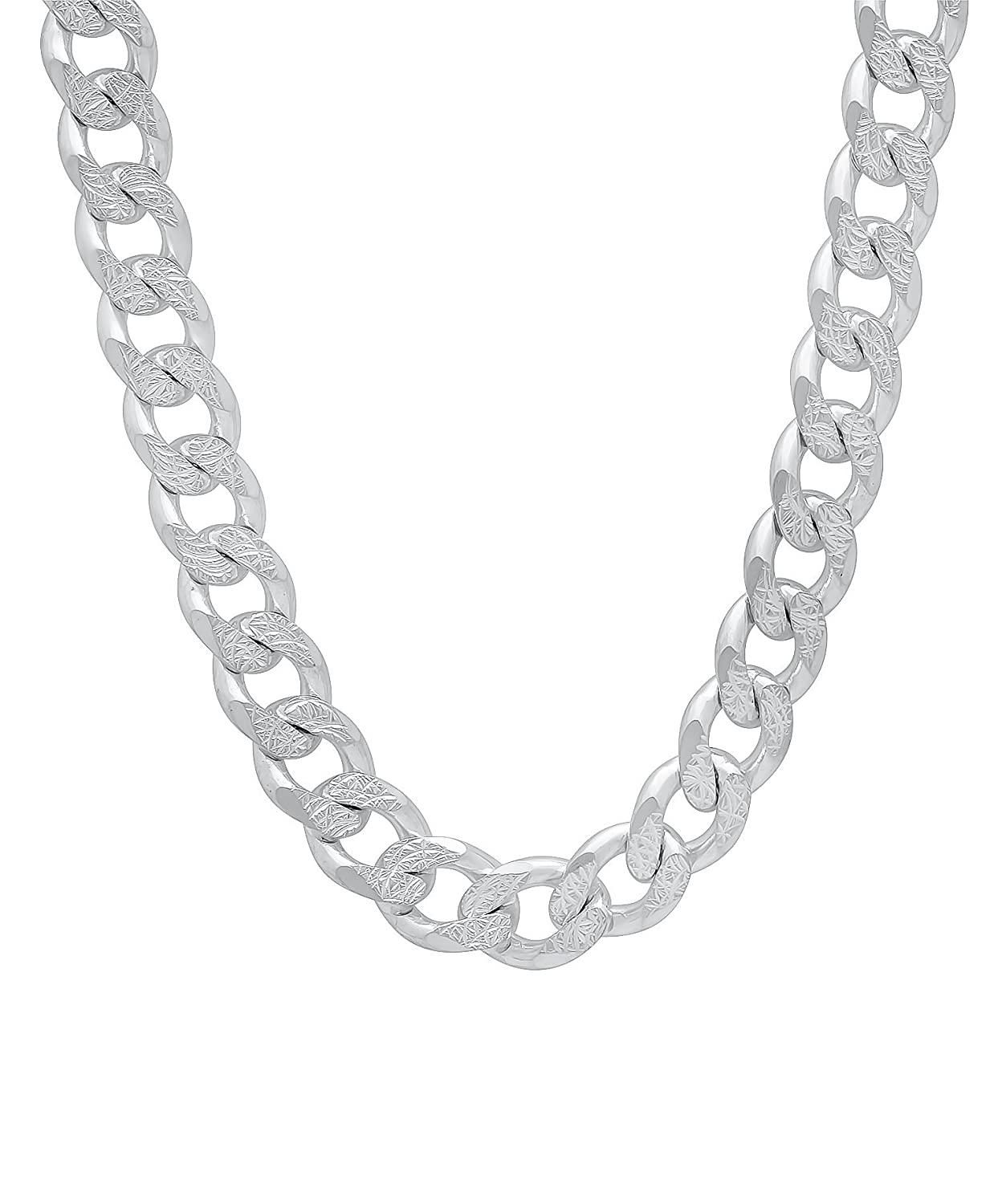 8mm Curb Necklace Chain Sterling Silver 925 30g 24 Designer Inspired