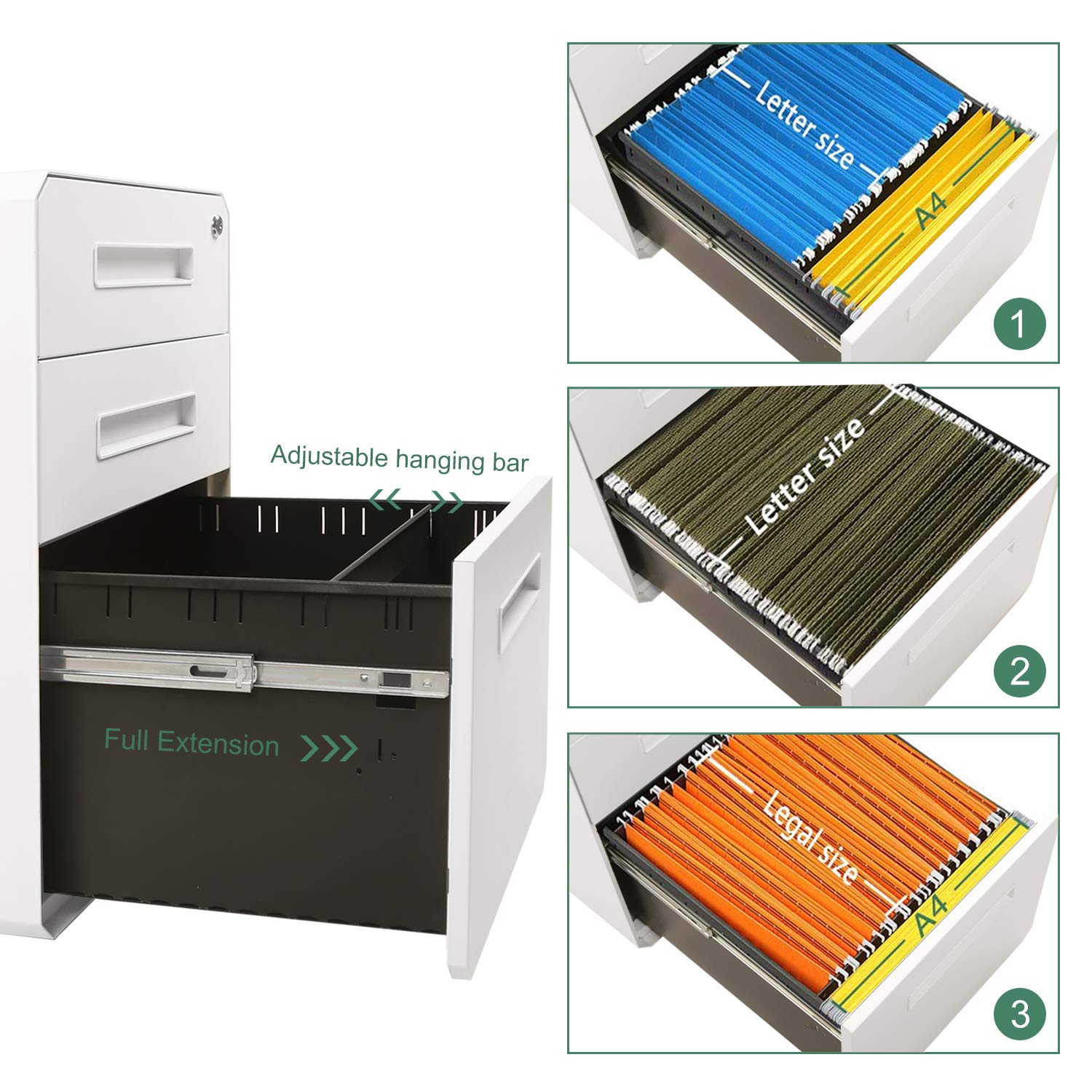 M&W 3 Drawer Mobile File Cabinet, Metal Locking Letter Filing Cabinet by M/W M & W (Image #4)