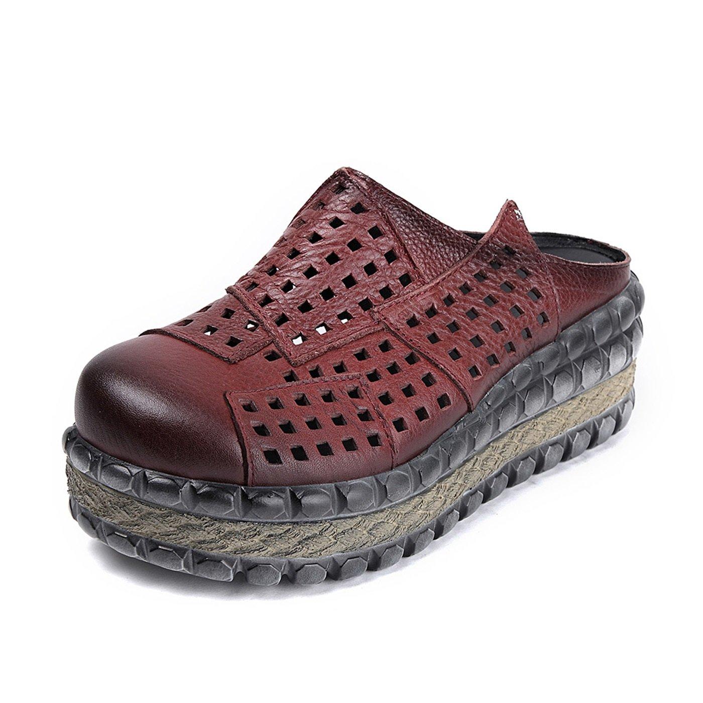 Rouge  DANDANJIE Sandales pour Femmes Vintage Creux évidés Sandales à Talons compensés Pantoufles PU Hauteur augHommestée Chaussures