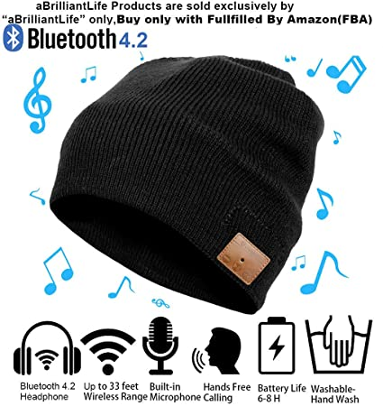 33fcabbab Christmas Tech Gift Bluetooth Beanie Winter Hat Running Headphones Wireless  Musical Knit Cap with Stereo Headsets & Mic Unique Thick Warm hat for ...