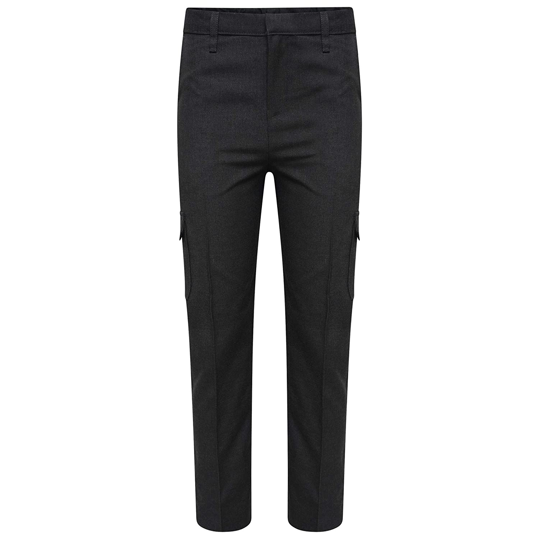 47c11b9f71 Off The High Street Boys School Cargo Trousers Charcoal Grey School Uniform  Adjustable Waist 5-12yrs: Amazon.co.uk: Clothing