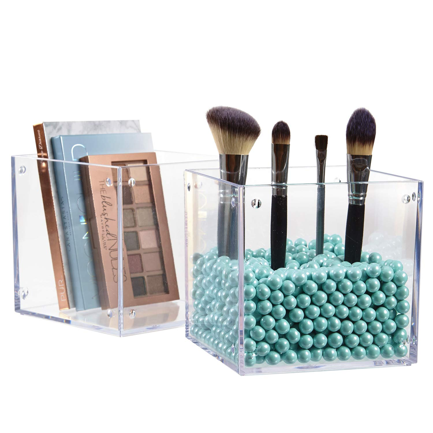 STORi Clear Plastic Stackable Makeup Storage and Display Cubes | Set of 2