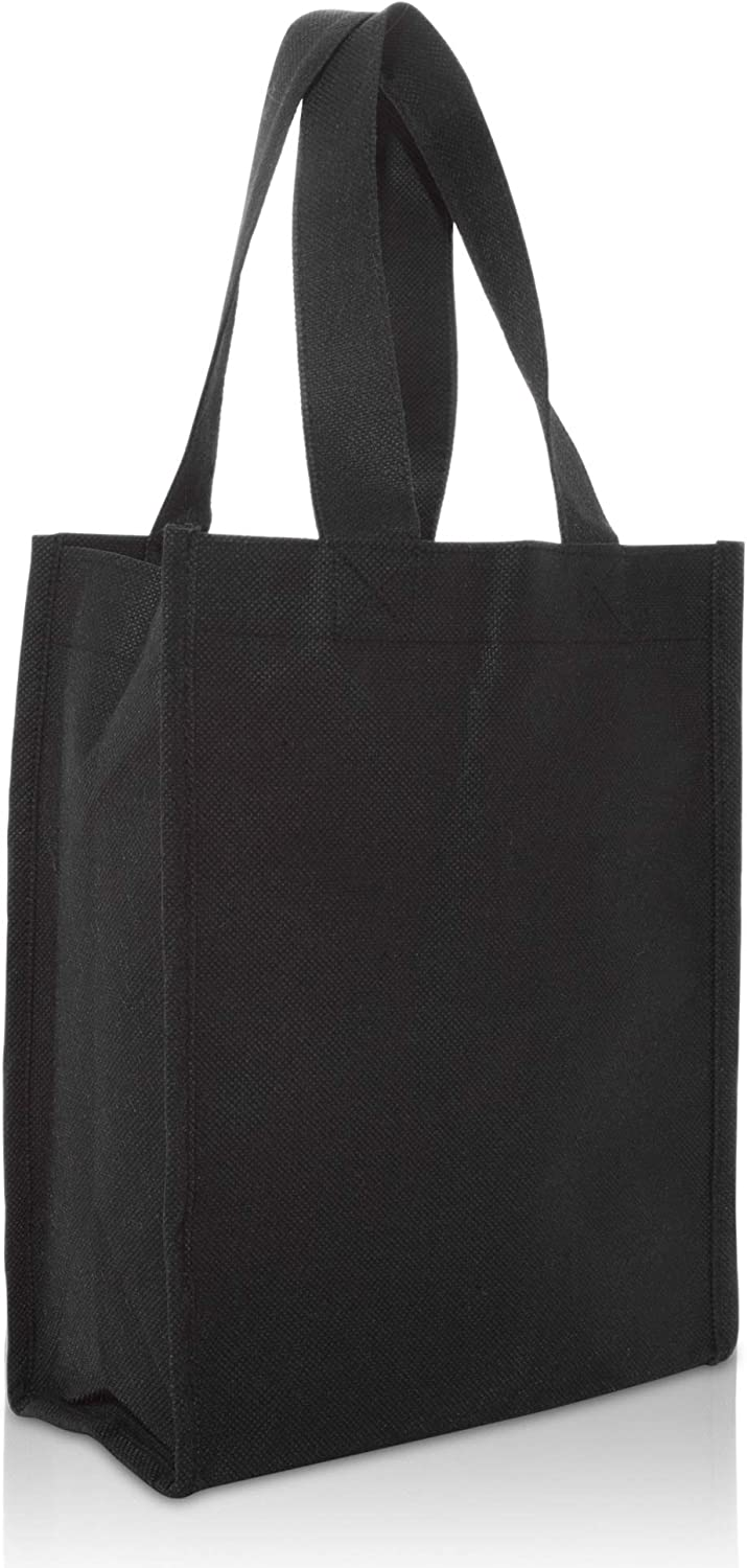 "DALIX 10"" Mini Shopping Totes Small Resuseable Bags for Women and Children in Black-2 PACK"