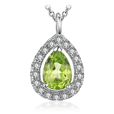 JewelryPalace Pear 0.8ct Natural Peridot 925 Sterling Silver Solitaire Pendant Necklace 18 Inches YNf3s
