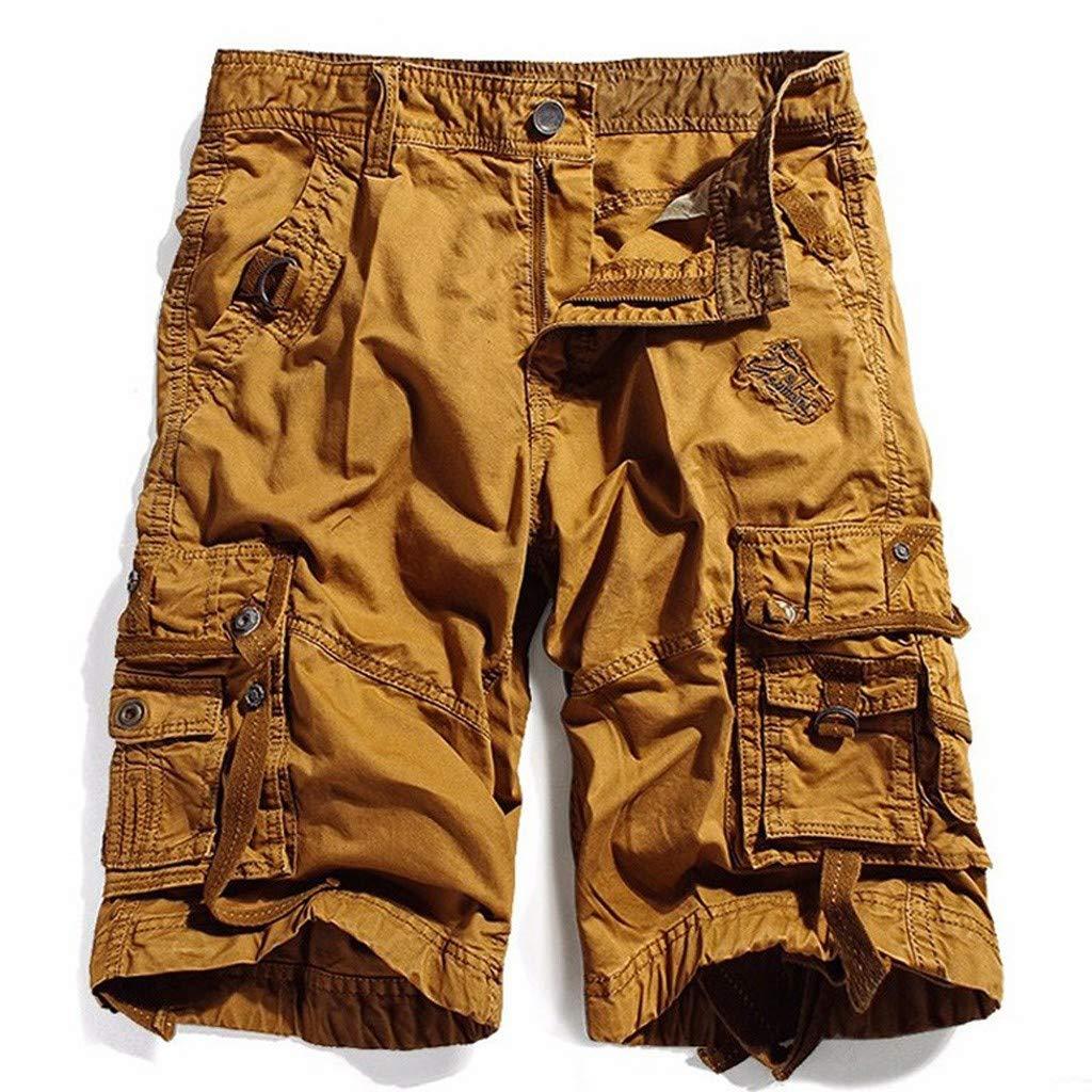 ZhixiaYS 2019 New Mens Shorts Surf Board Shorts Summer Beach Sport Short Pants Quick Dry Boardshorts (M, YellowA)