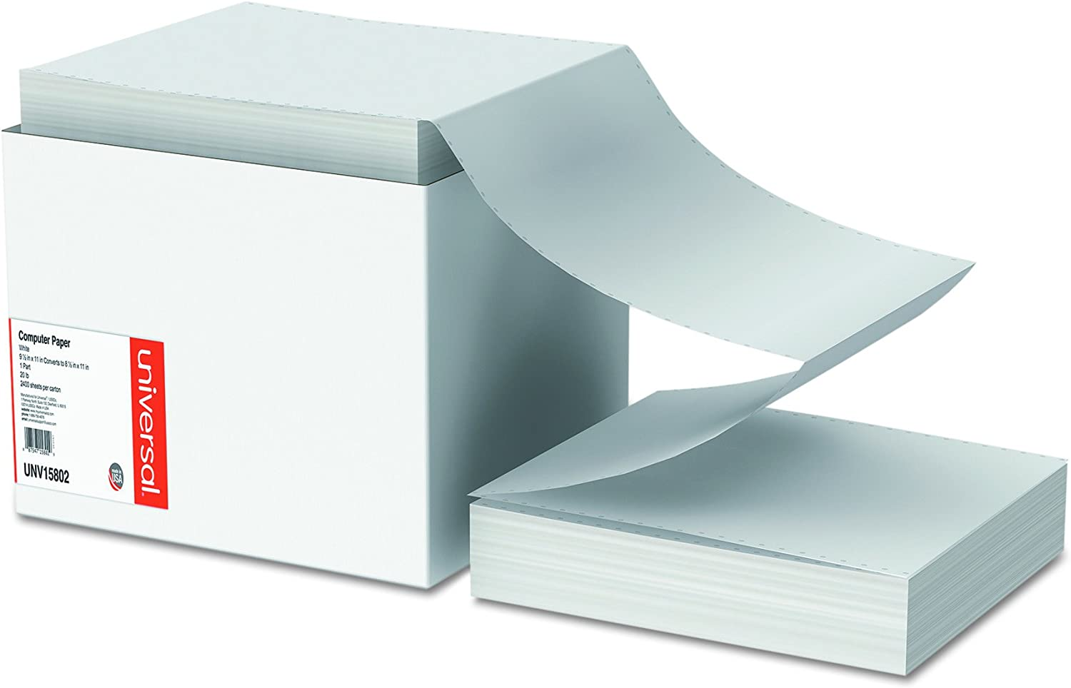 Universal 15802 Computer Paper, 20lb, 9-1/2 x 11, Letter Trim Perforations, White (Case of 2400 Sheets)