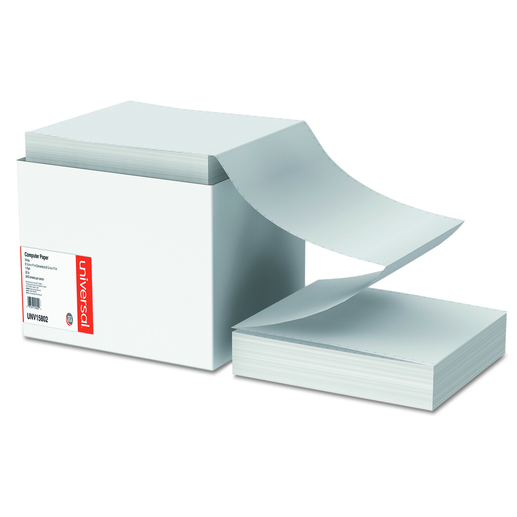 Universal 15802 Computer Paper, 20lb, 9-1/2 x 11, Letter Trim Perforations, White (Case of 2400 Sheets) by Universal