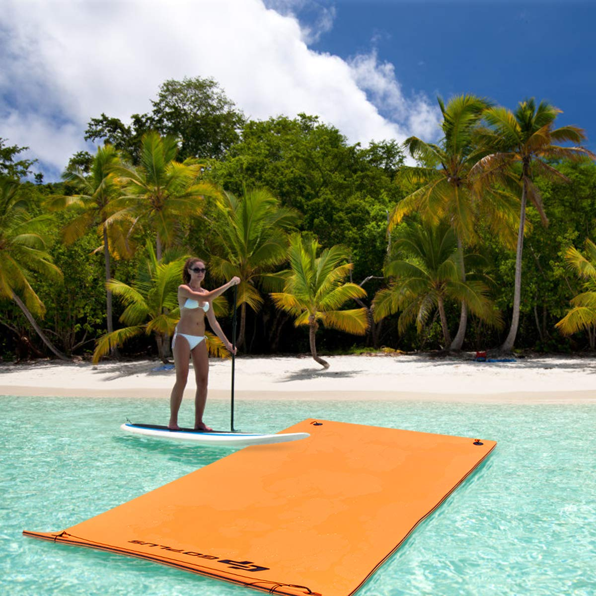 Goplus 12' x 6' Floating Water Pad for Lakes 3 Layer Floating Foam Mat Aqua Buoyancy Pad Designed for Water Recreation and Relaxing (Orange + Black) by Goplus (Image #4)