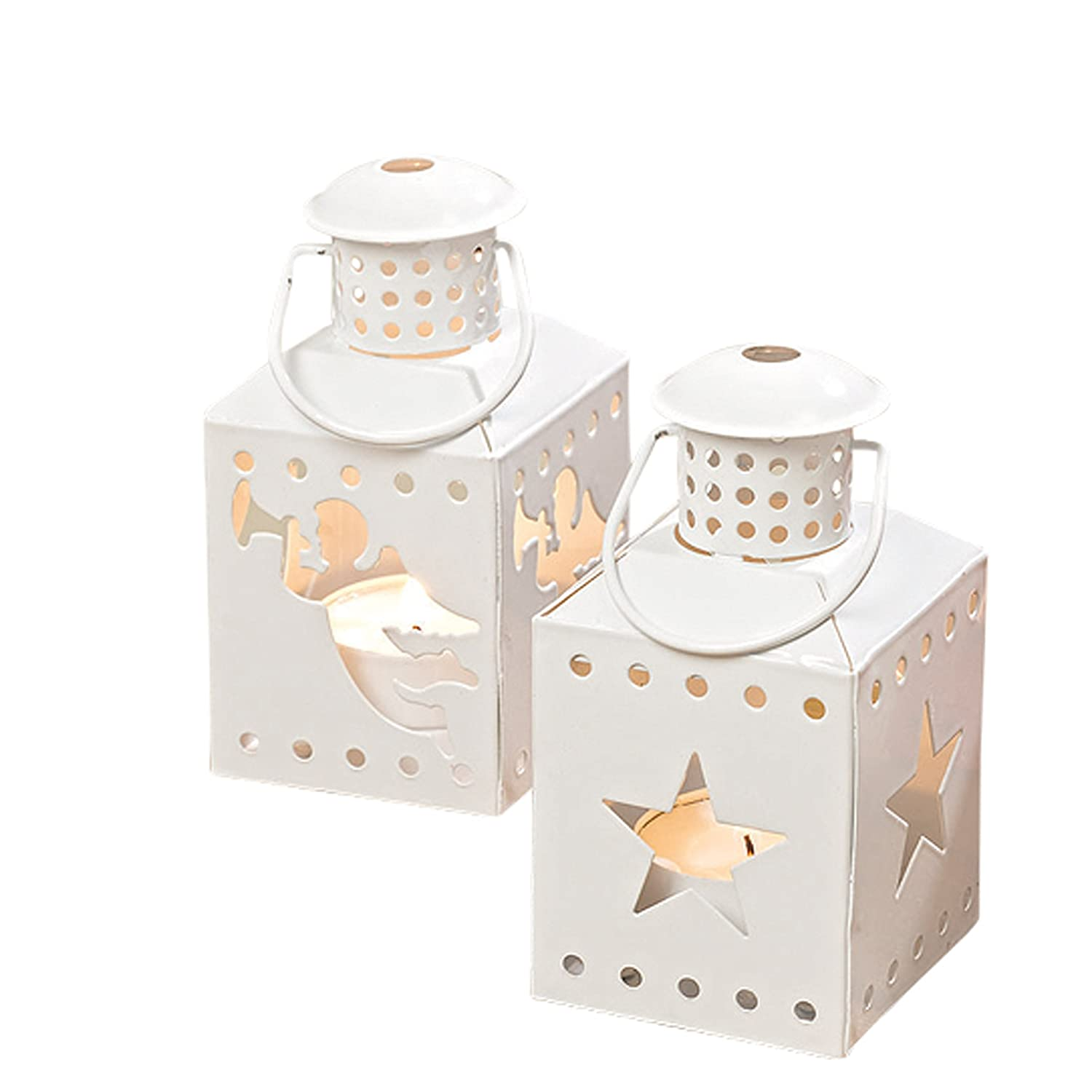 Mini Christmas Rustic White Lantern Candle Holders Set of 12 | ChristmasTablescapeDecor.com