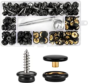 """150 PCS Canvas Snap Kit with 2Pcs Setting Tool, Metal Screws Snaps Marine Grade 3/8"""" Socket Stainless Steel Boat Canvas Snaps for DIY Boat Cover Furniture"""