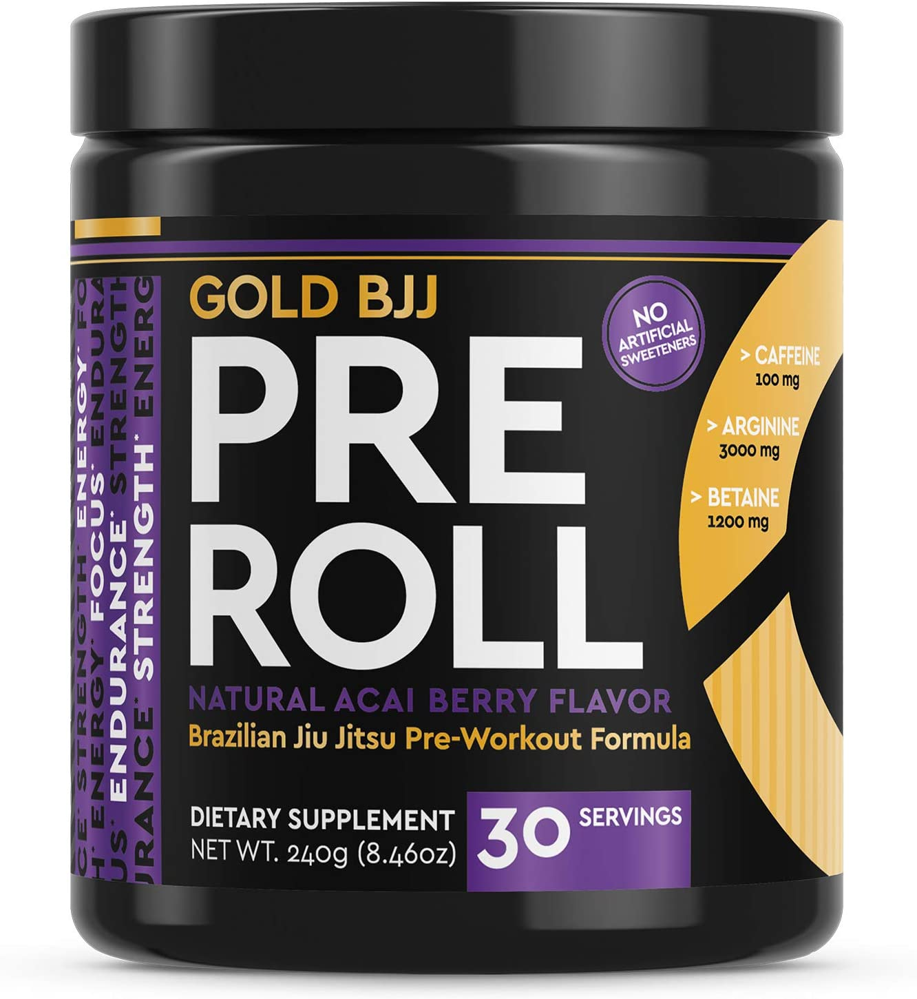 Gold BJJ PreRoll – Jiu Jitsu Pre Workout Supplement for Energy, Focus, and Endurance – Martial Arts Specific Pre-Workout Powder Formula with Natural Flavors Acai Berry, 30 Servings