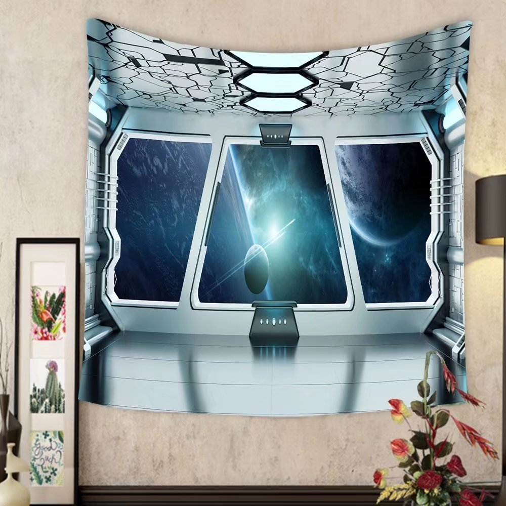 Grace Little Custom tapestry spaceship white and blue interior with view on space and planet earth d rendering elements of this