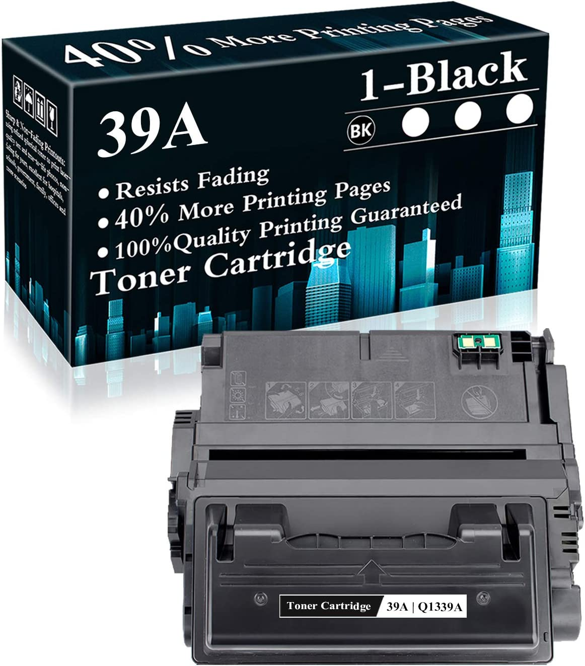 1 Pack 39A | Q1339A Black Compatible Toner Cartridge Replacement for HP Laserjet 4200 4200N 4200dtn 4250 4250n 4250dtnsl 4300n 4300dtns 4350n 4350tn 4350dtn M4345xs M4345xm MFP Printer,Sold by TopInk