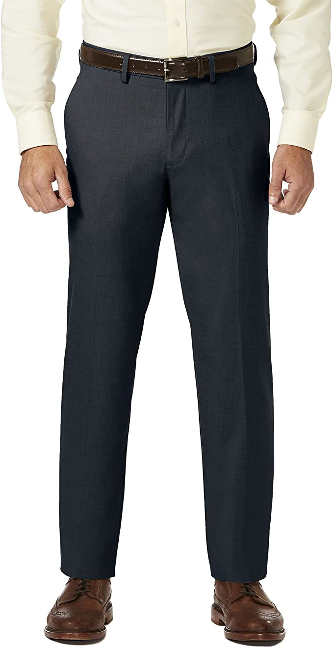Haggar Men/'S J.M Sharkskin Superflex Waist Flat Front Dress Pant