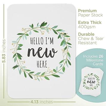 Amazon.com: Género neutro impreso tarjetas de bebé Milestone ...
