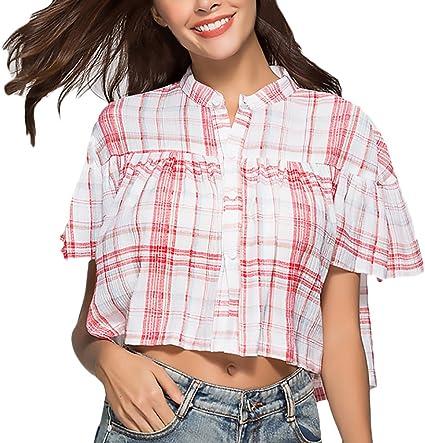 Mujer Camisas Elegantes Verano Cuadros Manga Corta Cuello Redondo Crop Niñas Ropa Top Tumblr Shirt Anchos Casual Moda Joven Niña Shirts Blusa: Amazon.es: Ropa y accesorios