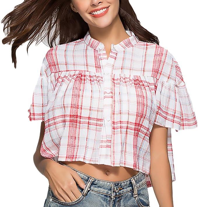Mujer Camisas Elegantes Verano Cuadros Manga Corta Cuello Clásico Especial Redondo Crop Top Tumblr Shirt Anchos Casual Moda Joven Niña Shirts Blusa Mujeres: Amazon.es: Ropa y accesorios