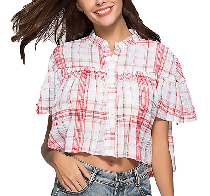 Mujer Camisas Elegantes Verano Cuadros Manga Corta Cuello Redondo Sencillos Especial Crop Top Tumblr Shirt Anchos Casual Moda Joven Niña Shirts Blusa ...