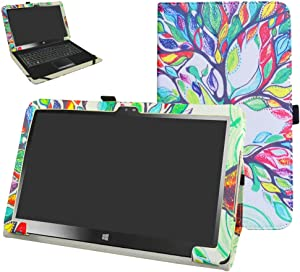 "Insignia 11.6 NS-P11W7100 / NS-P11A8100 Case,Mama Mouth PU Leather Folio Stand Cover for 11.6"" Insignia 11.6 NS-P11W7100 / NS-P11A8100 11.6 Inch Windows 10 Tablet PC,Love Tree"