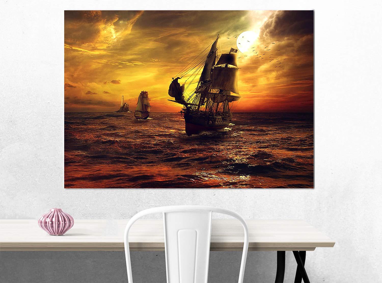 Decorazioni Interni Mare al Tramonto Pirati dei Caraibi Topquadro Quadro XXL Stampa su Tela 100x50cm Immagine Panoramica Perla Nera Nave dei Pirati