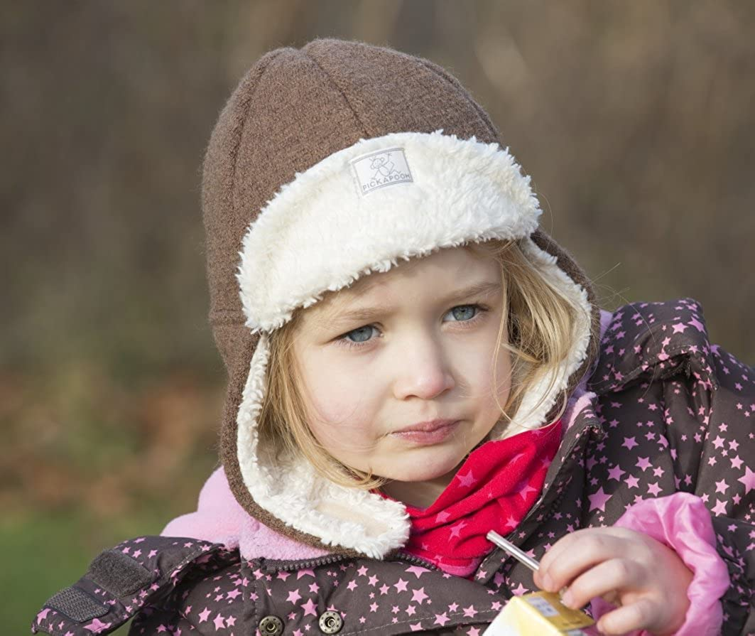 ae5b733934a Amazon.com  Pickapooh Hat 100% Merino Wool Boiled Plush Baby Boy Girl  Children Organic Cotton Winter Earflap Fynn  Clothing